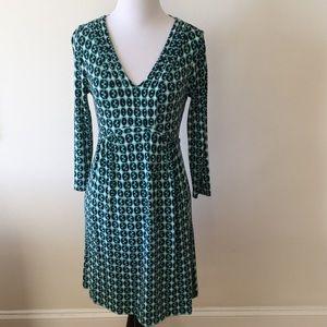 Boden green geometric print knit dress - size 6